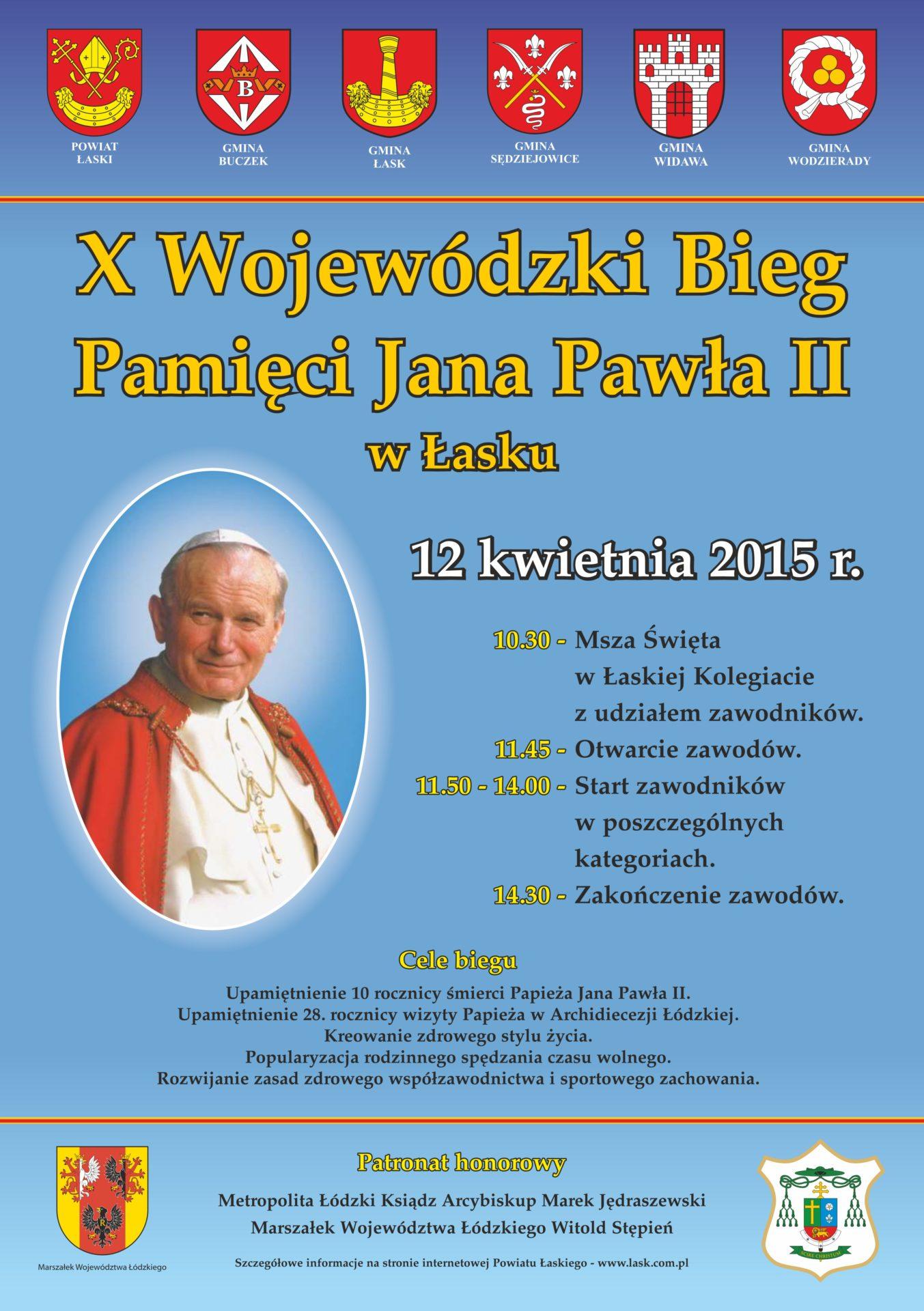 Bieg Pamięci Jana Pawła II: harmonogram i trasy