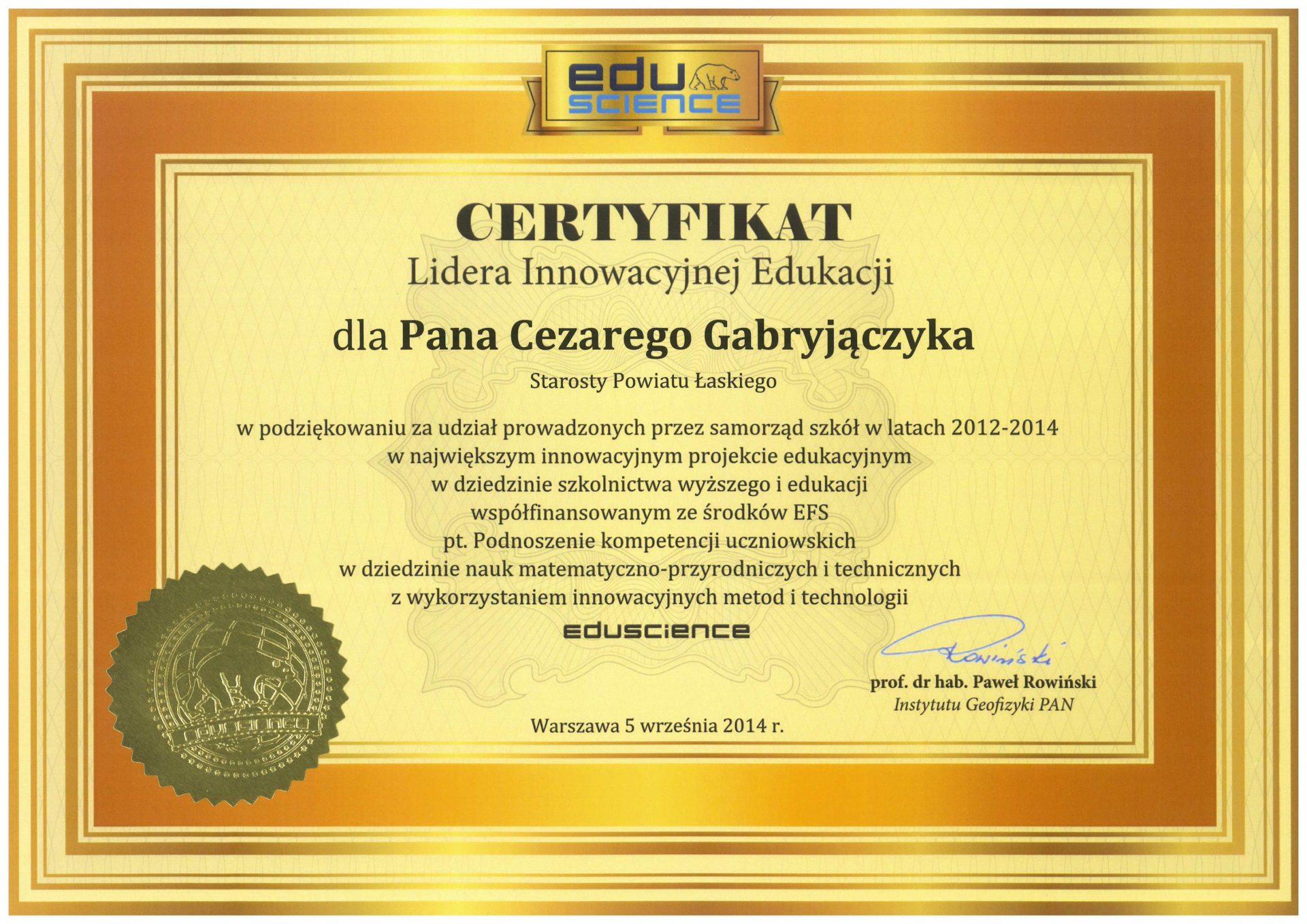 Certyfikat Lidera Innowacyjnej Edukacji