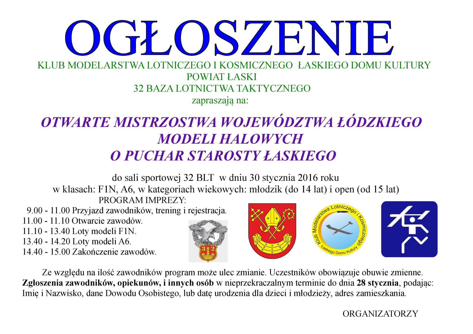 Otwarte Mistrzostwa Województwa Łódzkiego Modeli Halowych o Puchar Starosty Łaskiego
