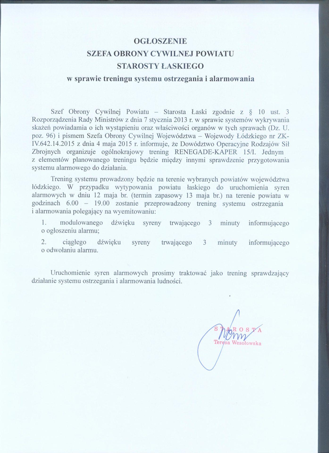 Ogłoszenie Szefa Obrony Cywilnej Powiatu