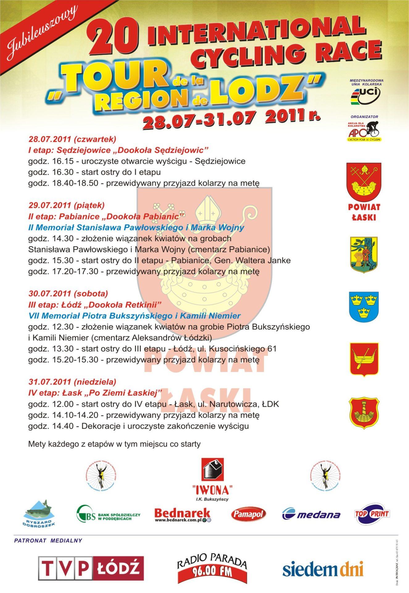 Jubileuszowy 20. Międzynarodowy Wyścig Kolarski TOUR de la REGION de LODZ