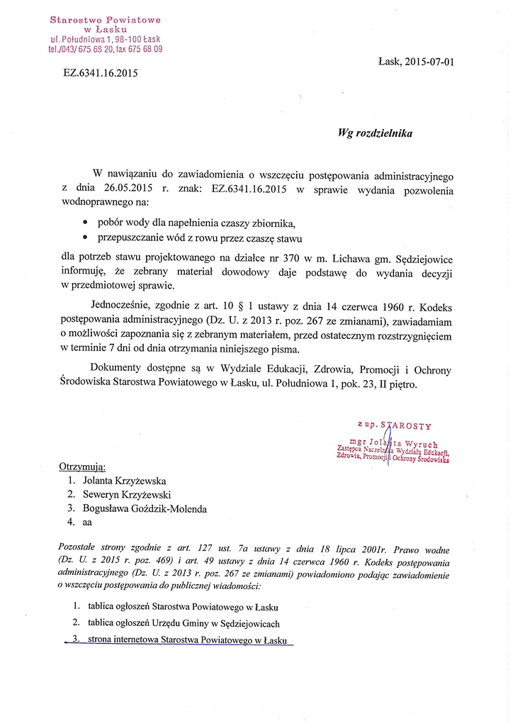 Postępowanie administracyjne w sprawie nr EZ.6341.16.2015