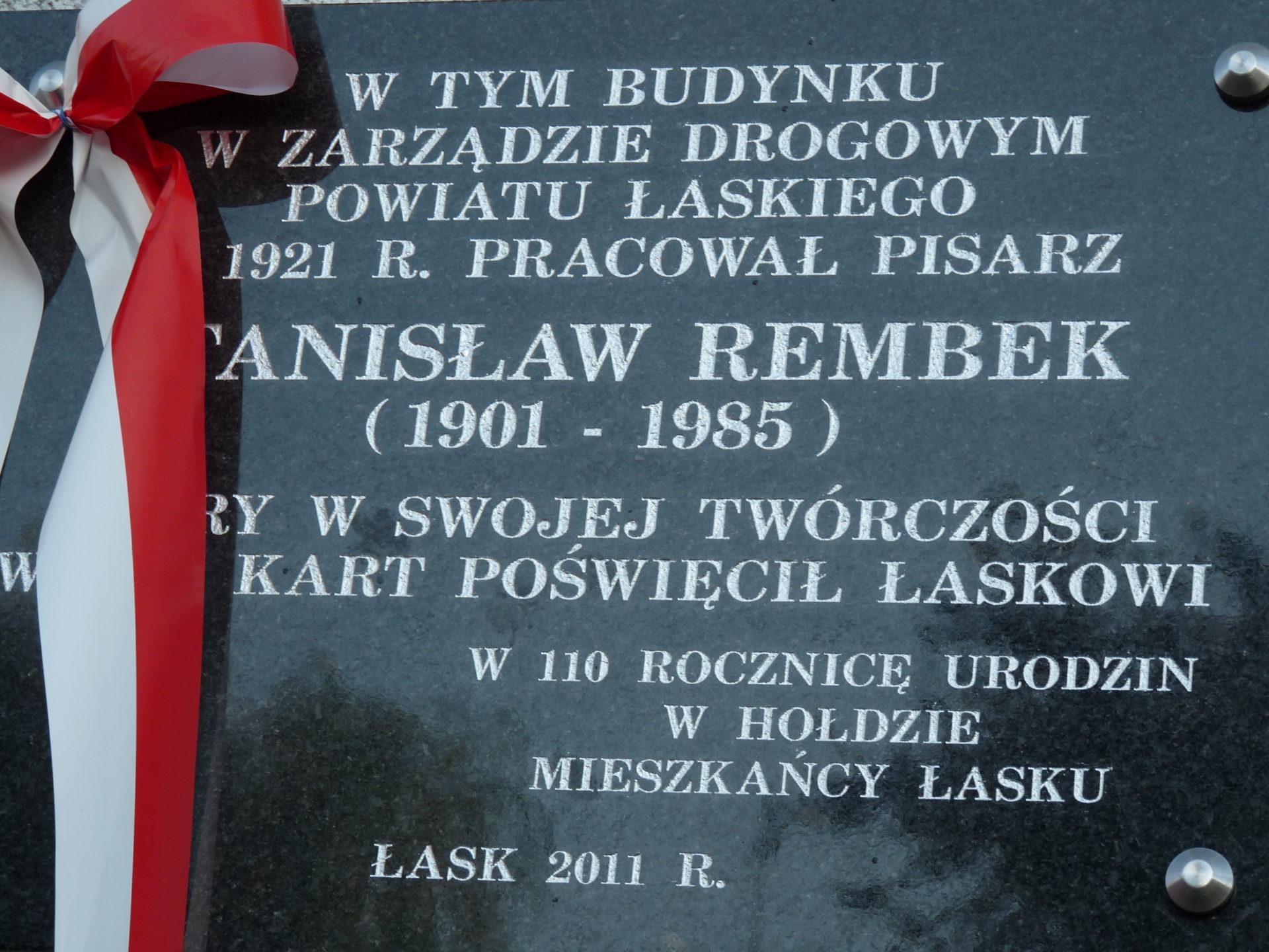Odsłonięcie tablicy poświęconej Stanisławowi Rembekowi
