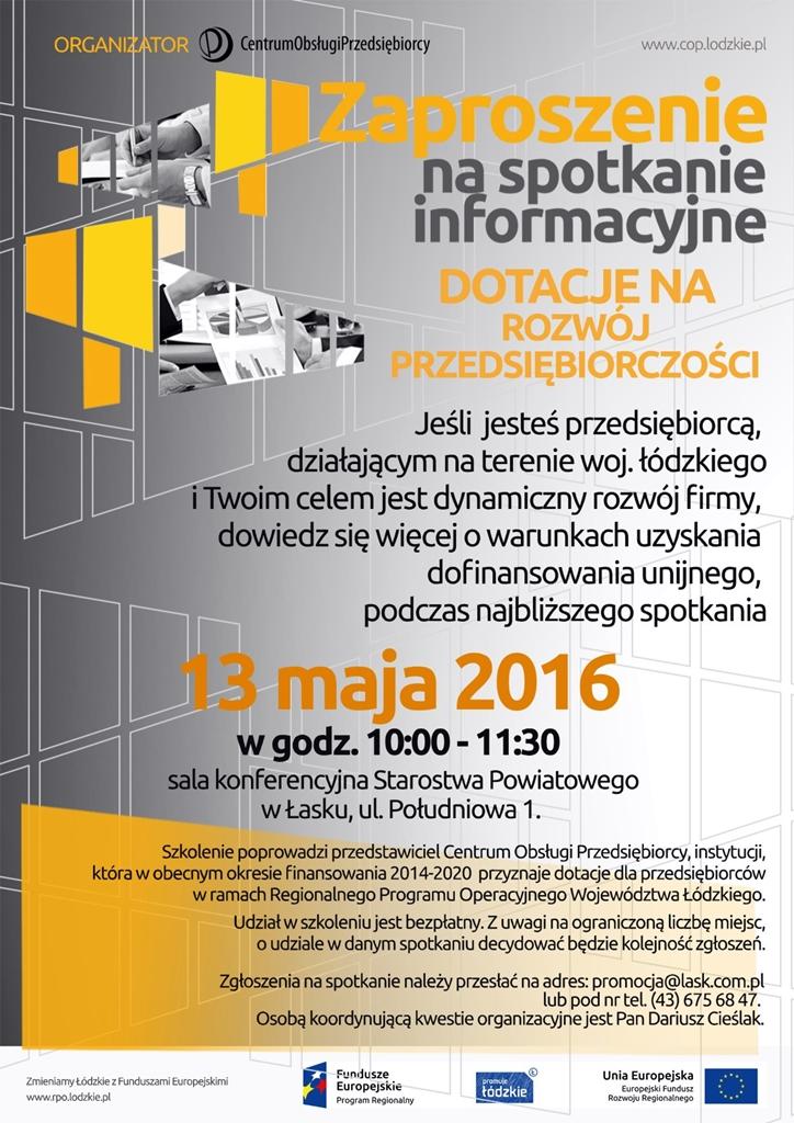 Dotacje na rozwój przedsiębiorczości – spotkanie informacyjne