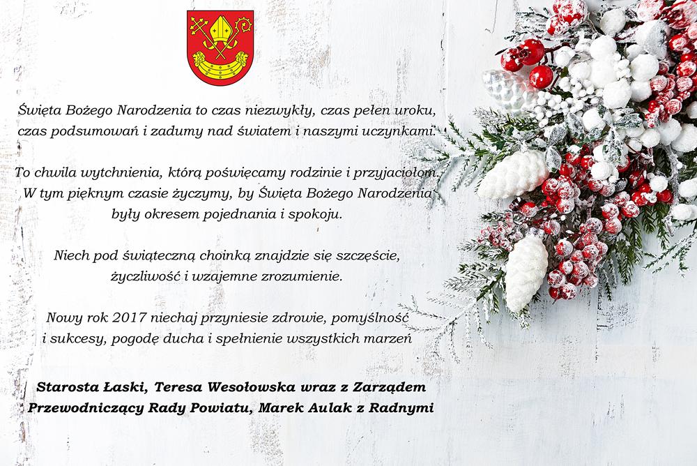 Życzenia od władz samorządowych Powiatu Łaskiego