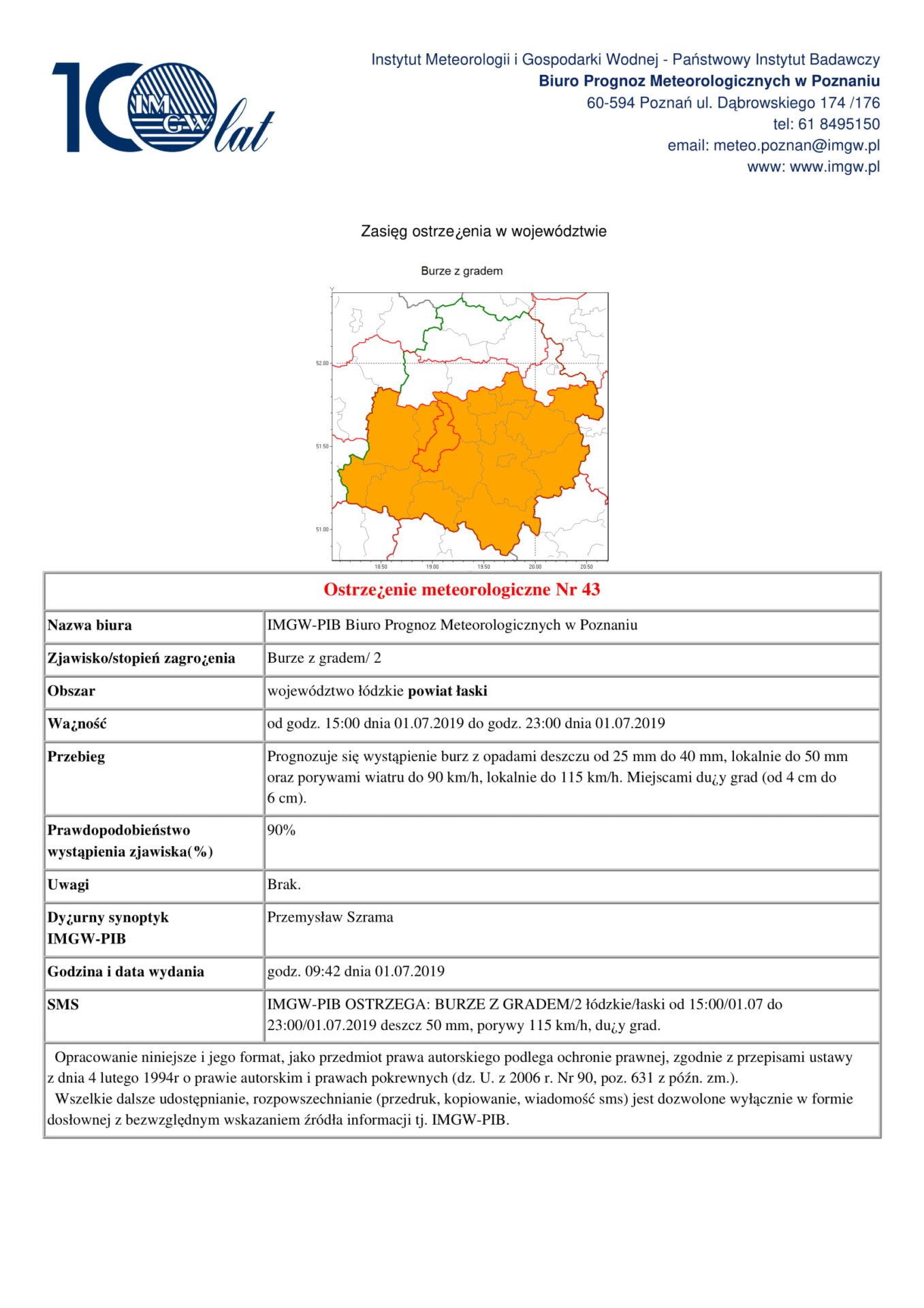 Ostrzeżenie meteorologiczne Nr 43 – BURZE Z GRADEM
