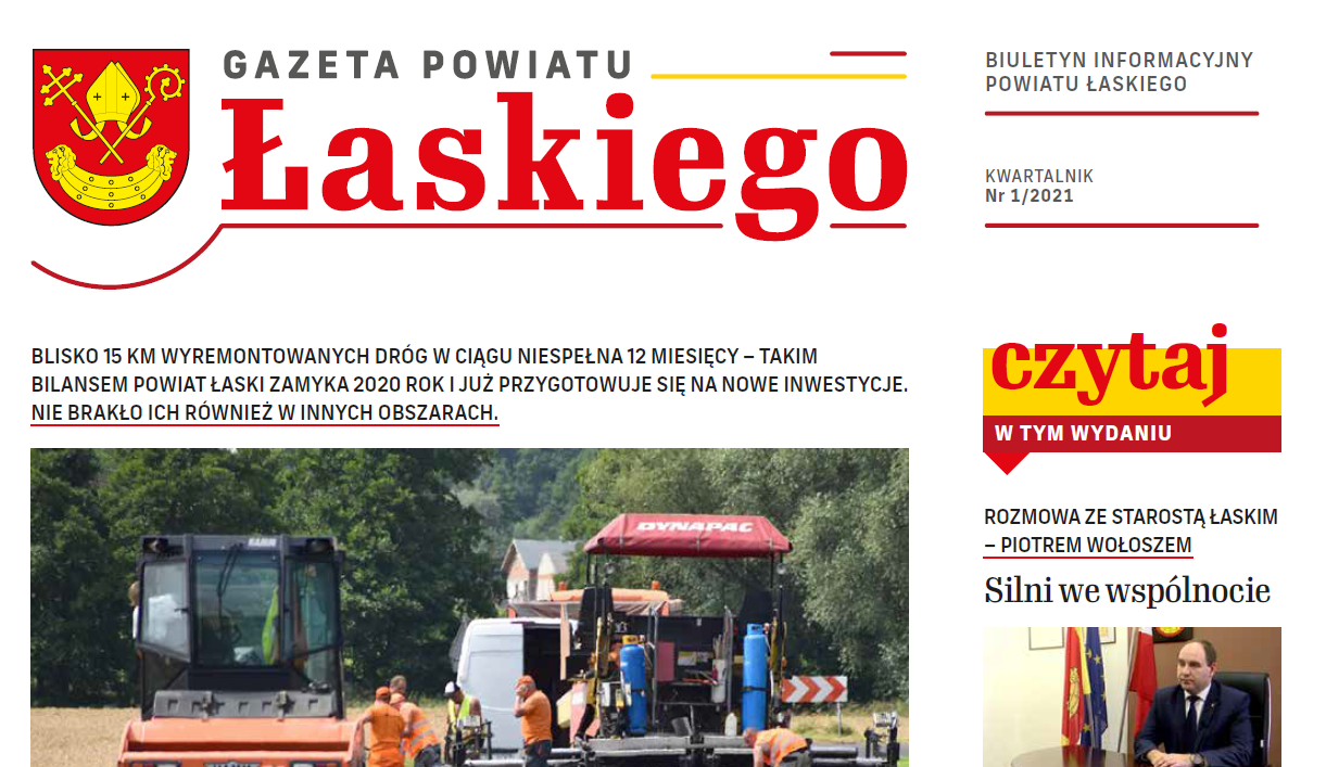 artykuł  Gazeta Powiatu Łaskiego NR 1